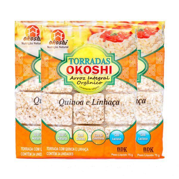 Torrada Orgânica Zero Glúten Quinoa E Linhaça Okoshi Contendo 3 Pacotes Com 75g cada
