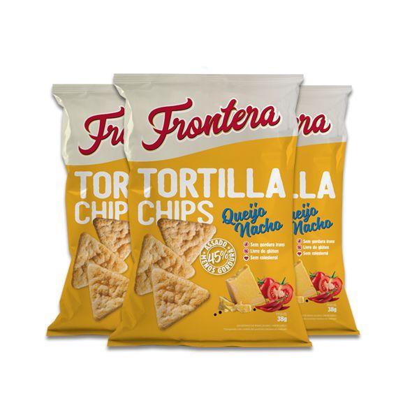 Tortilla Chips Queijo Nacho 0 Glúten Frontera contendo 3 pacotes de 38g cada