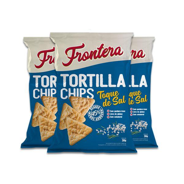 Tortilla Chips Toque de Sal 0 Glúten Frontera contendo 3 pacotes de 38g cada