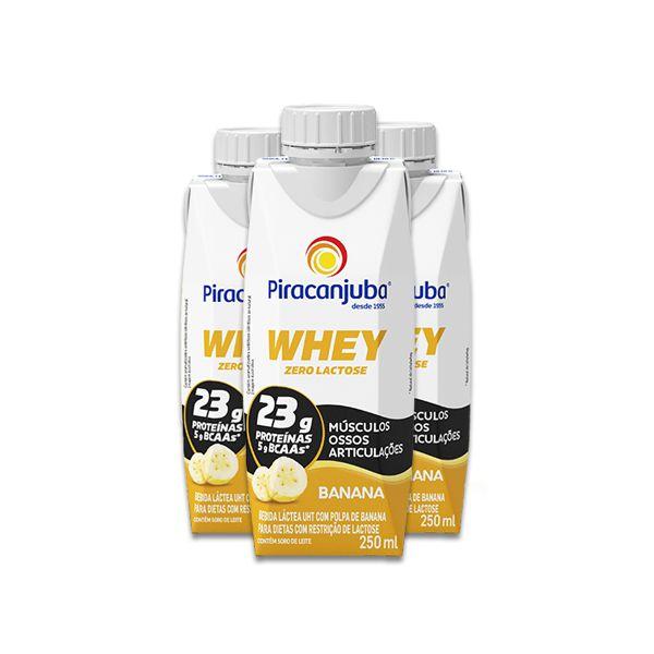 Whey Banana Piracanjuba contendo 3 unidades de 250ml cada