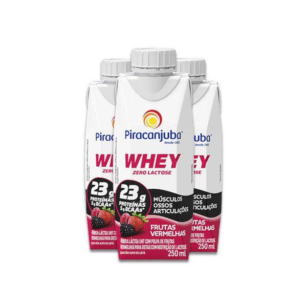 Whey Zero Lactose Frutas Vermelhas Piracanjuba contendo 3 unidades de 250ml cada
