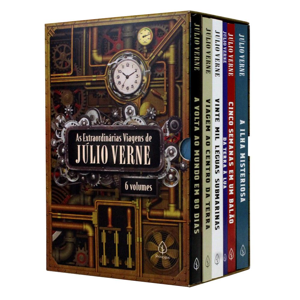 As Extraordinárias Viagens de Júlio Verne | Box com 6 Livros | Principis