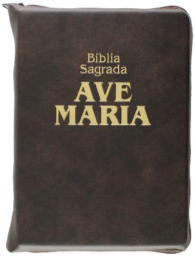 Bíblia Católica Ave Maria Com Zíper Média Luxo