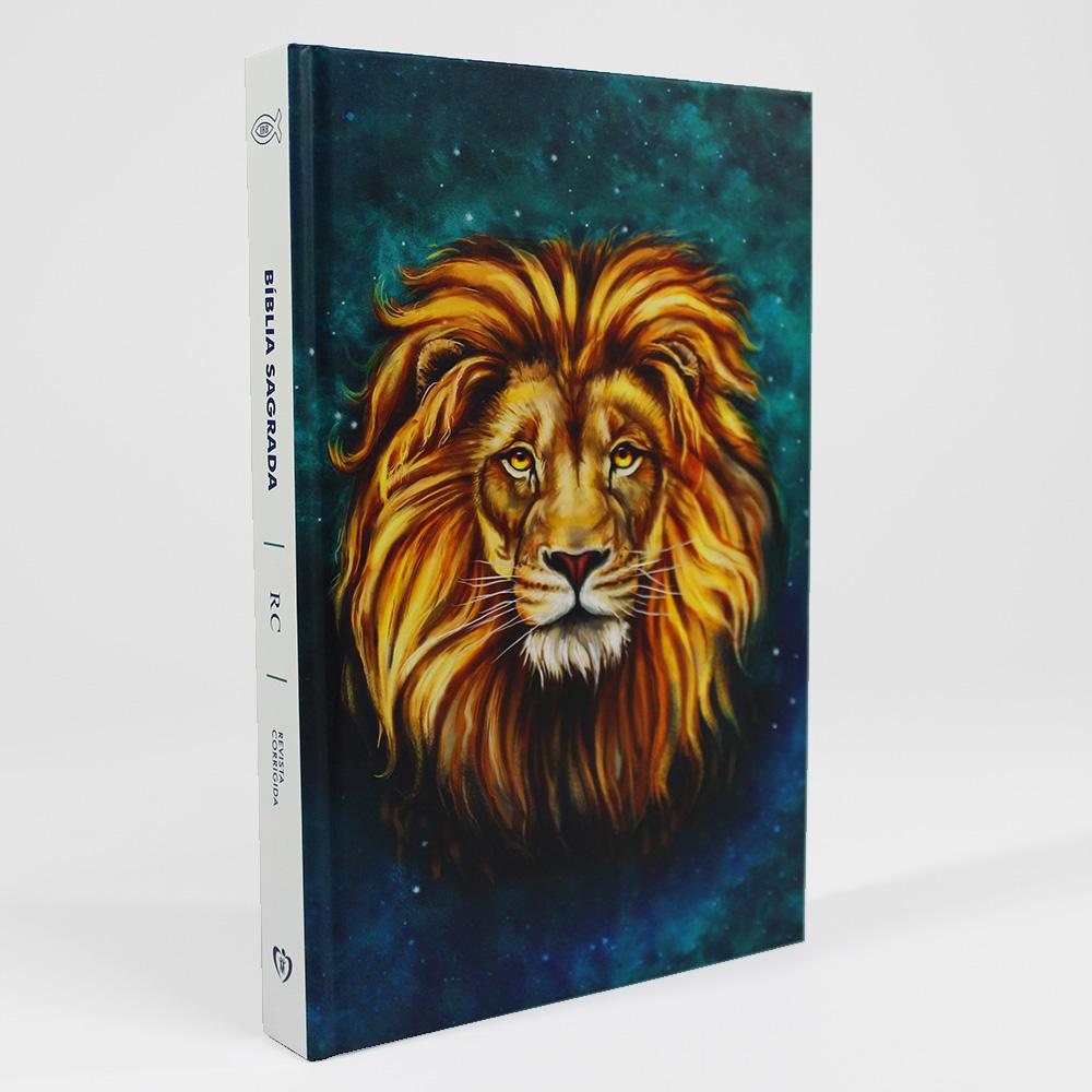 Bíblia Capa Dura | Leão Aslan Verde | RC | Revista E Corrigida