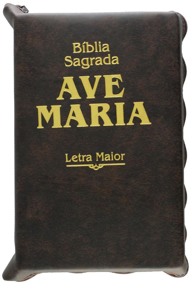 Bíblia Ave Maria Letra Maior Com Zíper Luxo