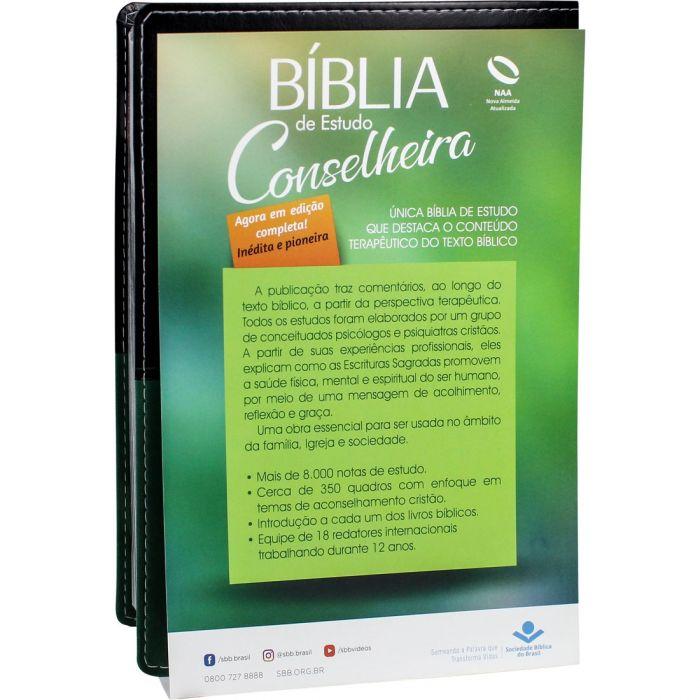 Bíblia de Estudo Conselheira | NAA | Capa Luxo Preta e Verde