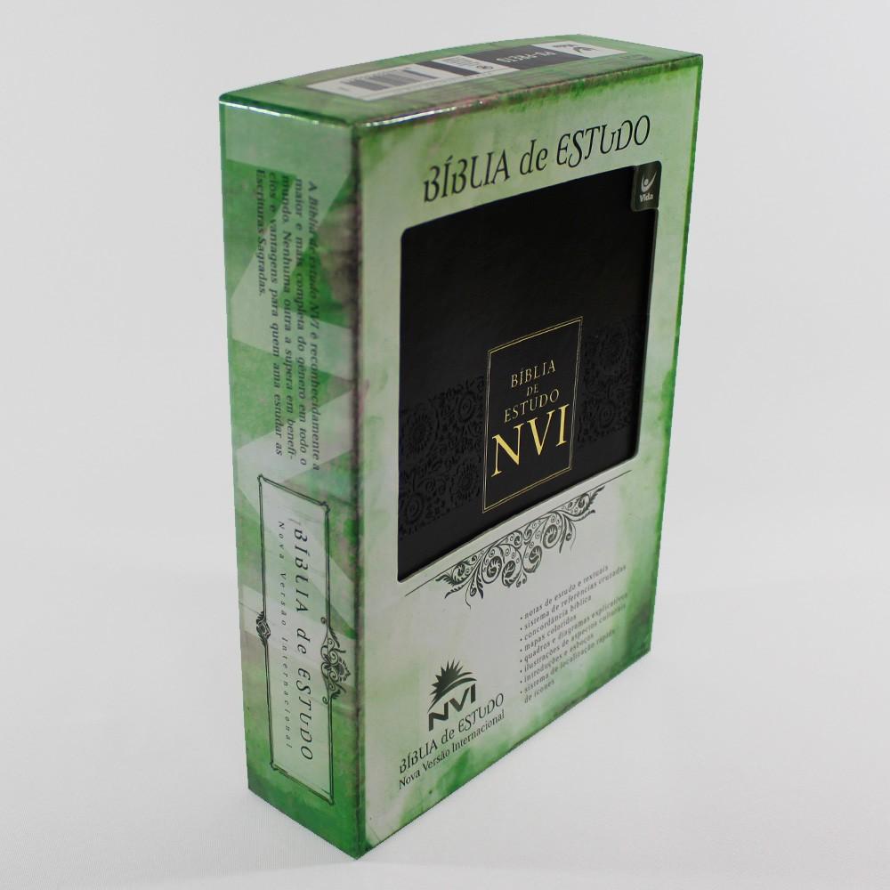 Bíblia de Estudo | NVI | Capa Luxo | Preta