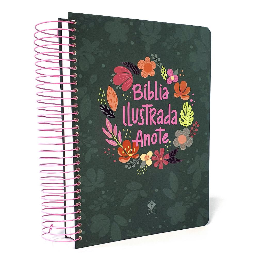 Bíblia Anote Ilustrada Espiral | Cores e Flores | NVT