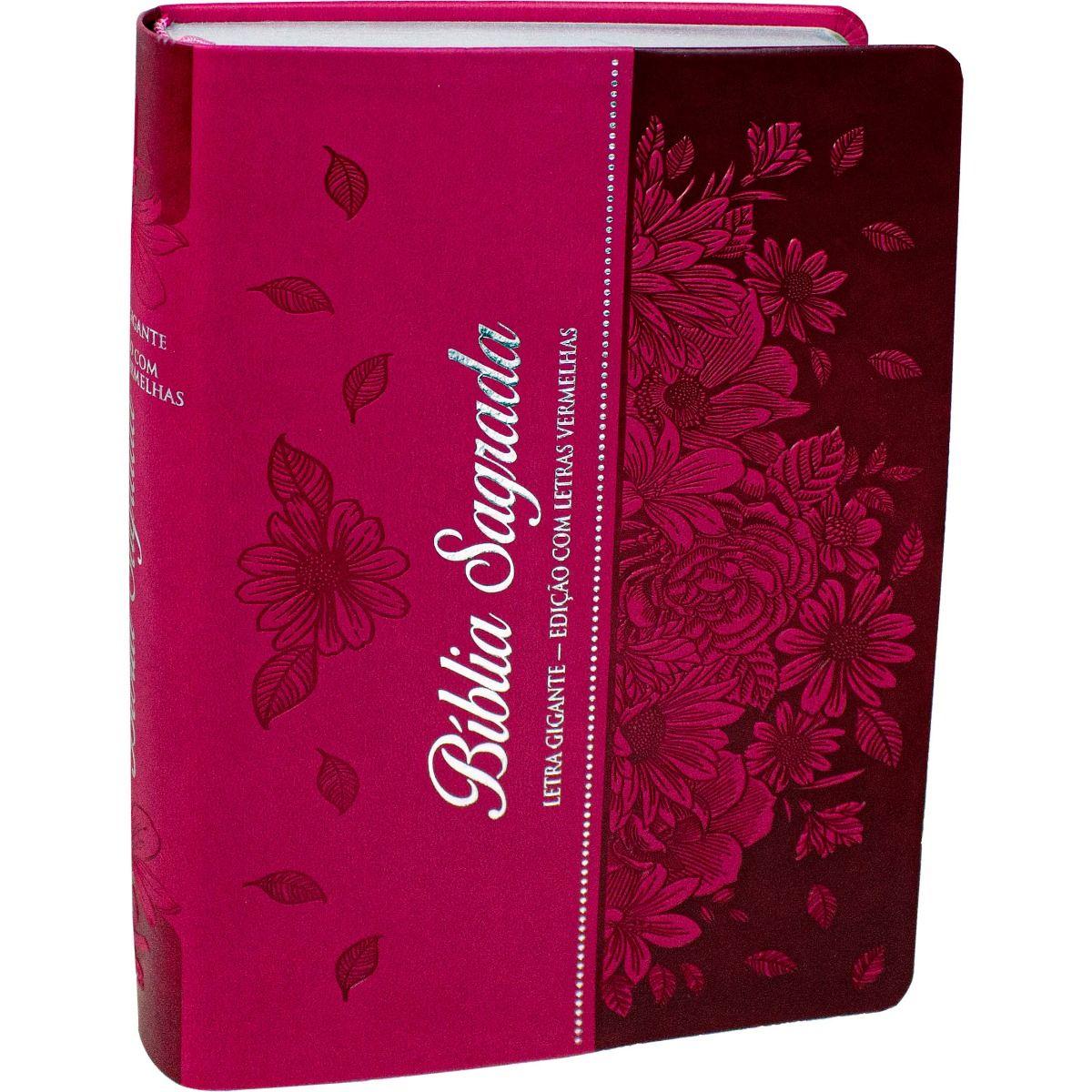 Bíblia Letra Gigante ARC Com Índice Pink Flor