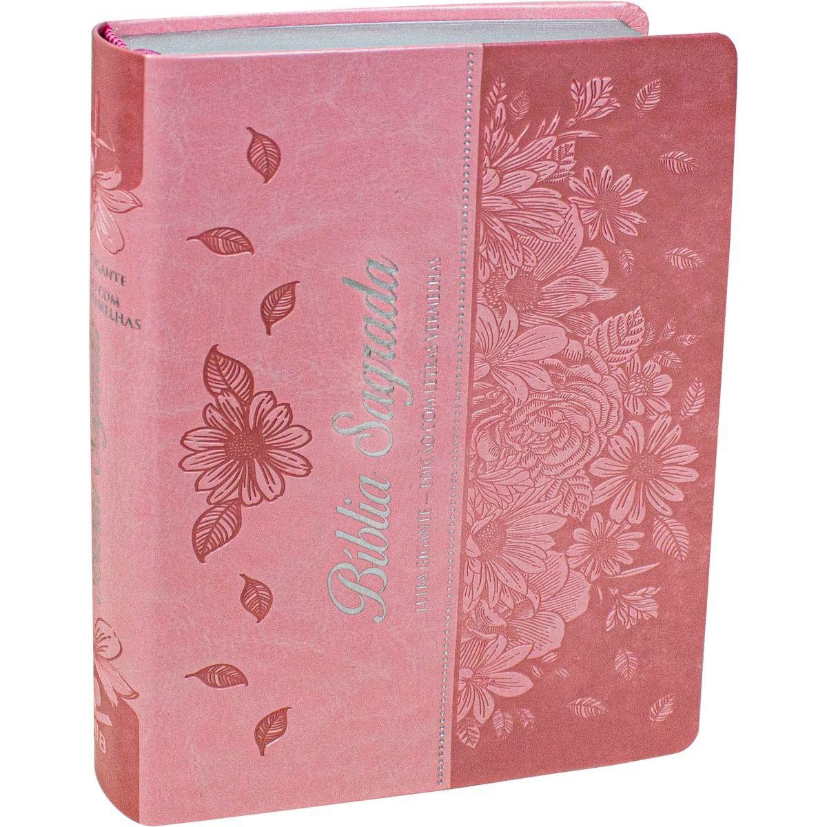 Bíblia Letra Gigante Com Índice ARC - Rosa Flor