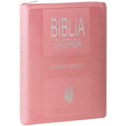Bíblia Letra Gigante Edição com Letras Vermelhas com Harpa Cristã - Zíper Rosa Claro