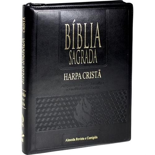 Bíblia Letra Gigante Edição com Letras Vermelhas com Zíper e Harpa Cristã