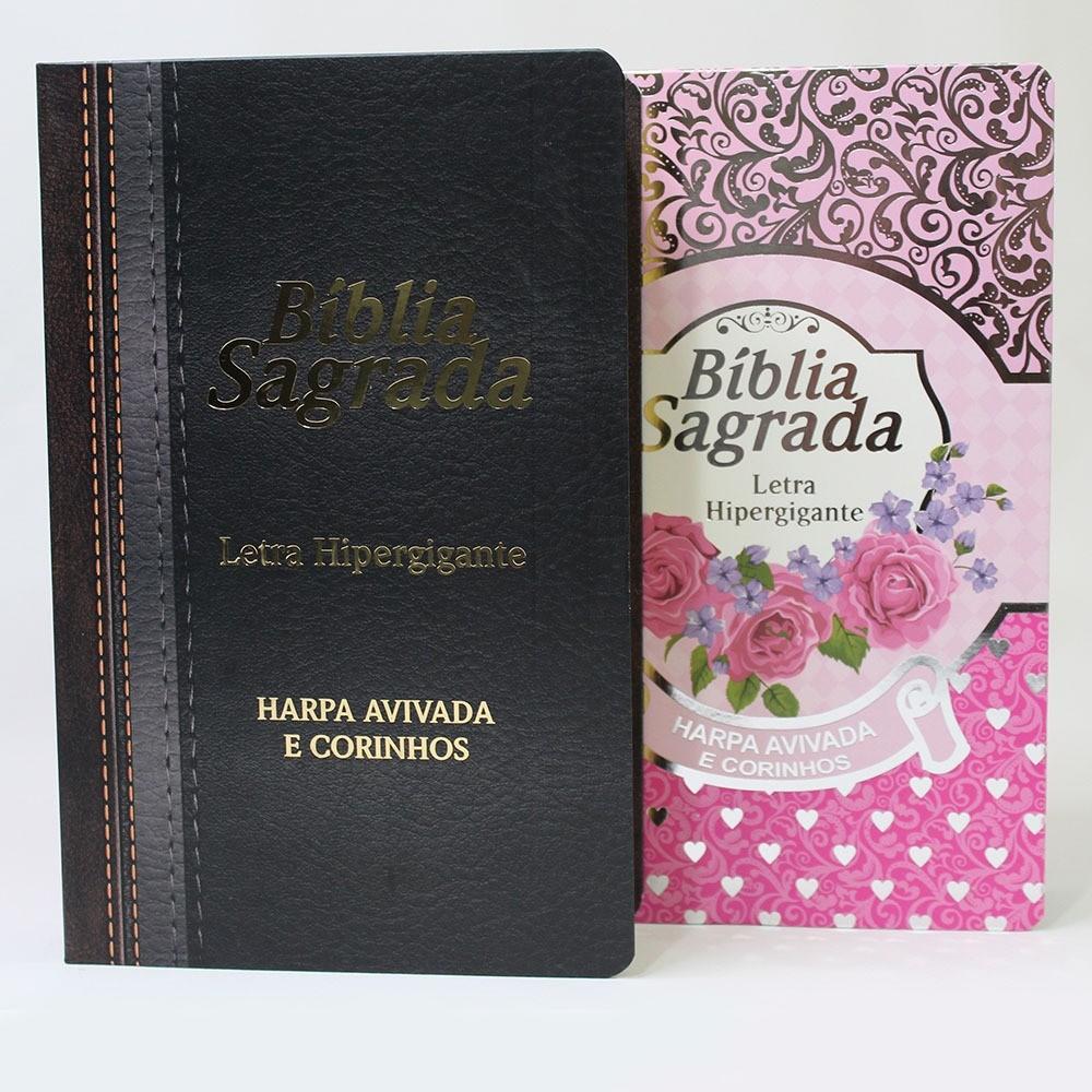 Bíblia Letra Hiper Gigante Com Harpa Avivada e Corinhos | Palavras Jesus em Destaque