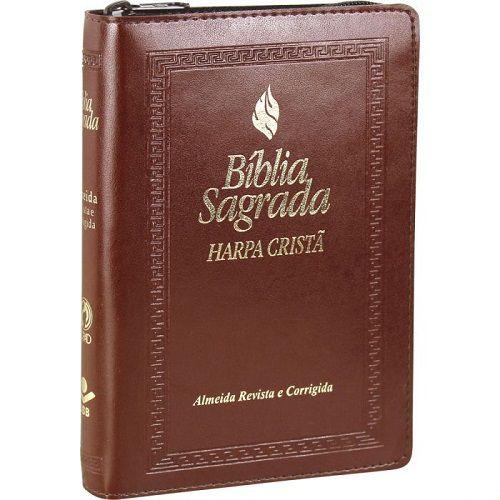 Bíblia Letra Maior com zíper e Harpa Cristã