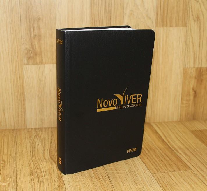 Bíblia Novo Viver NVI - Semi Luxo Preta