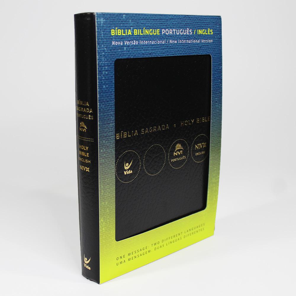 Bíblia NVI | Bilíngue | Português E Inglês | Capa Luxo Preta | Covertex