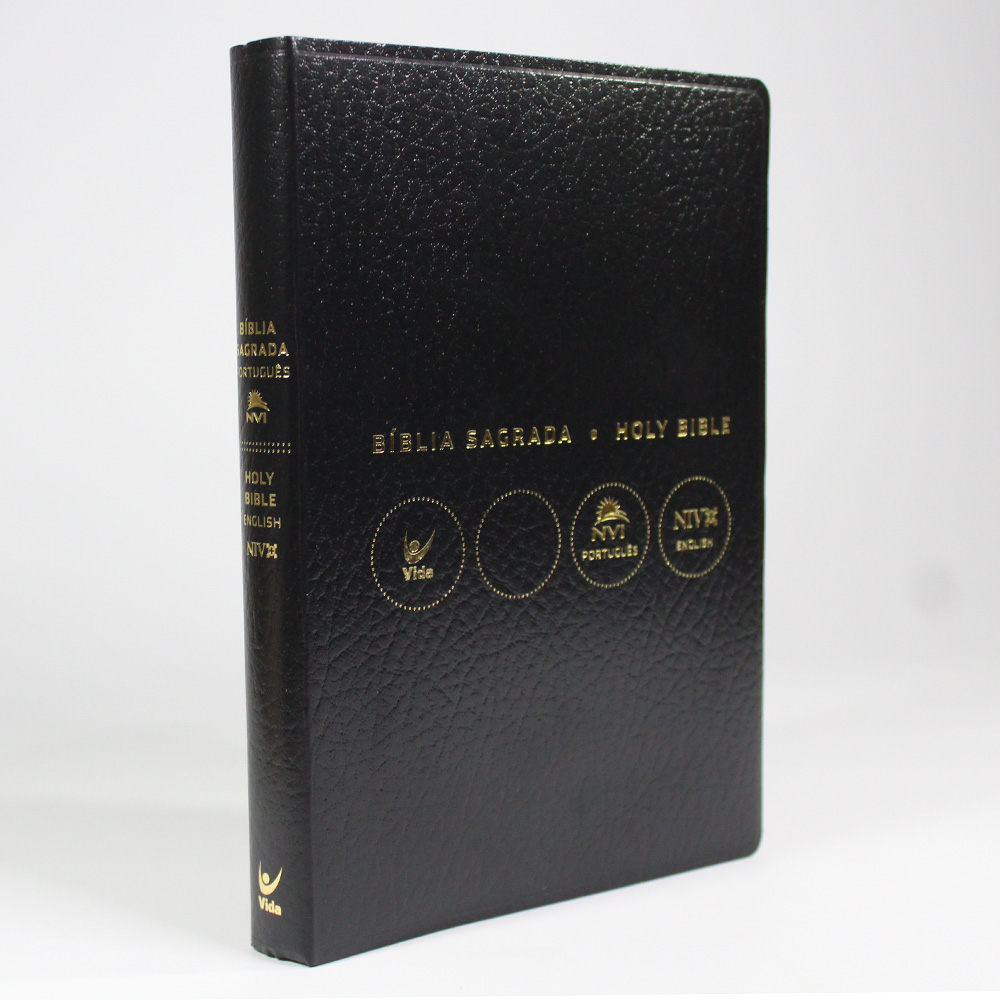 Bíblia NVI   Bilíngue   Português E Inglês   Capa Luxo Preta   Covertex