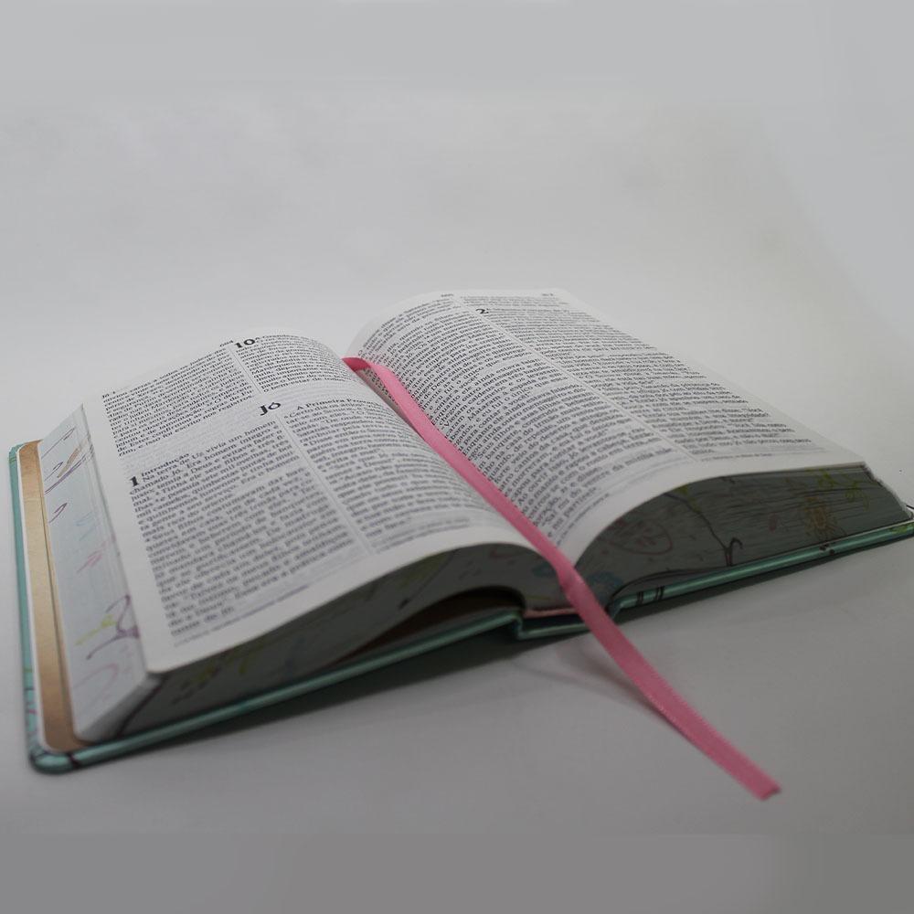 Bíblia NVI Letra Gigante 2 Cores - Capa dura Lateral artística Um Tempo Especial Com Deus