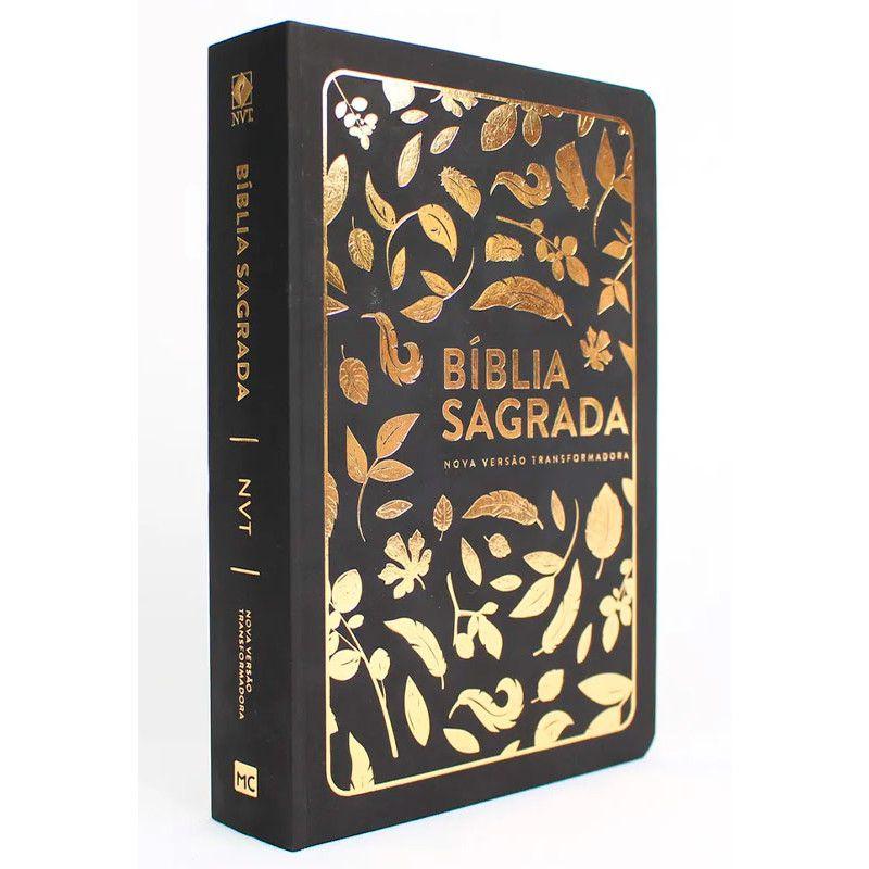 Bíblia NVT Letra Grande   Folhas Douradas