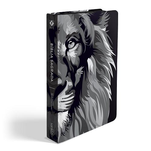 Bíblia NVT Lion Colors Preto e Branco   Soft Touch