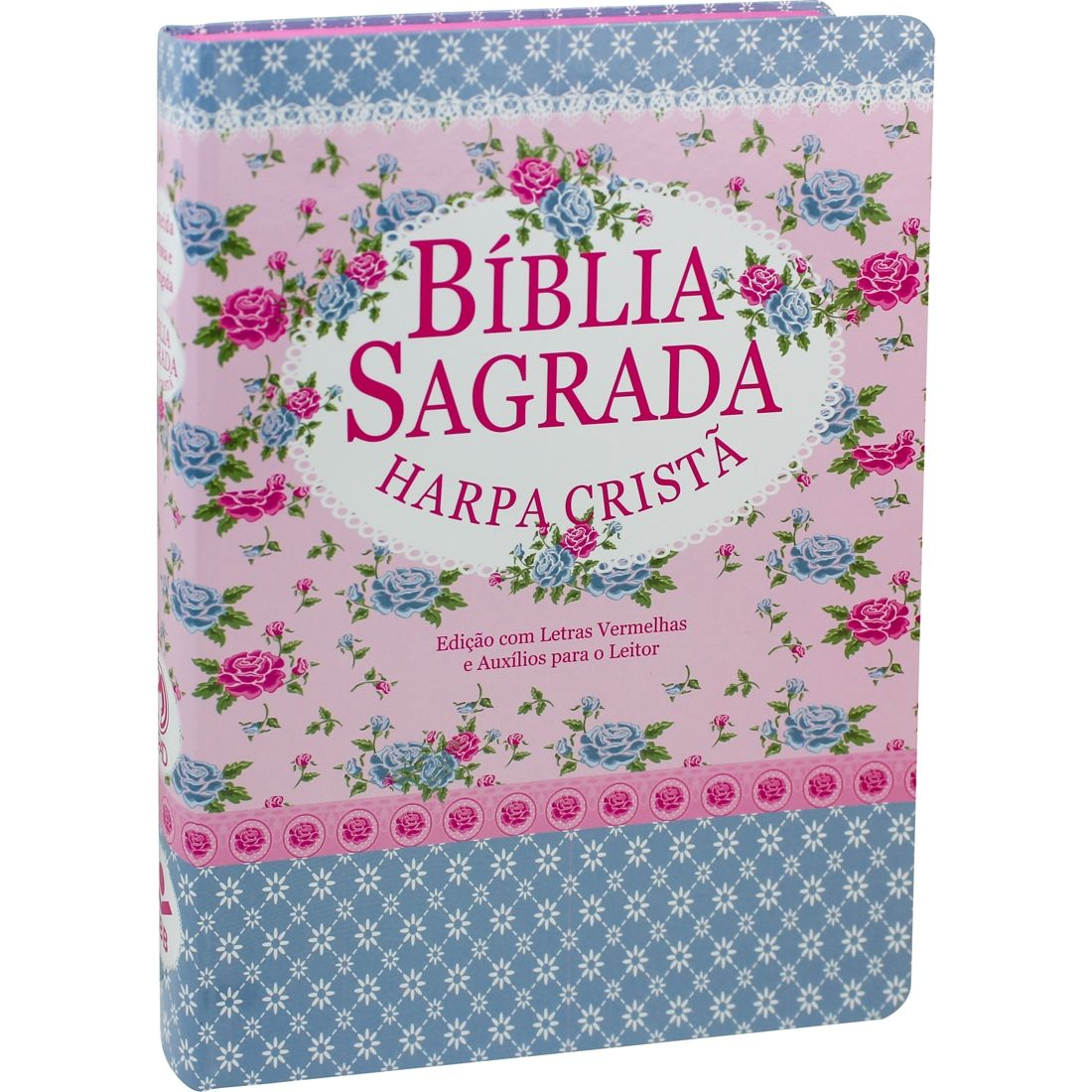 Bíblia Sagrada Letra Gigante com Harpa Cristã Semiflex Florida e Azul
