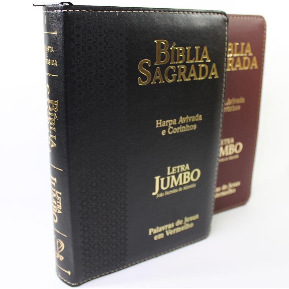 Bíblia Sagrada Letra Jumbo com Harpa Avivada e Corinhos com Zíper - ARC