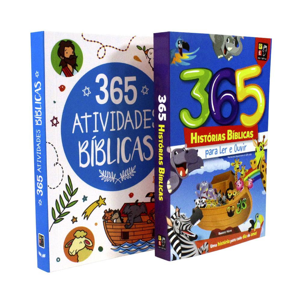 Kit 02 Livros | 365 Histórias Bíblica | 365 Atividades Bíblicas - Pé da Letra