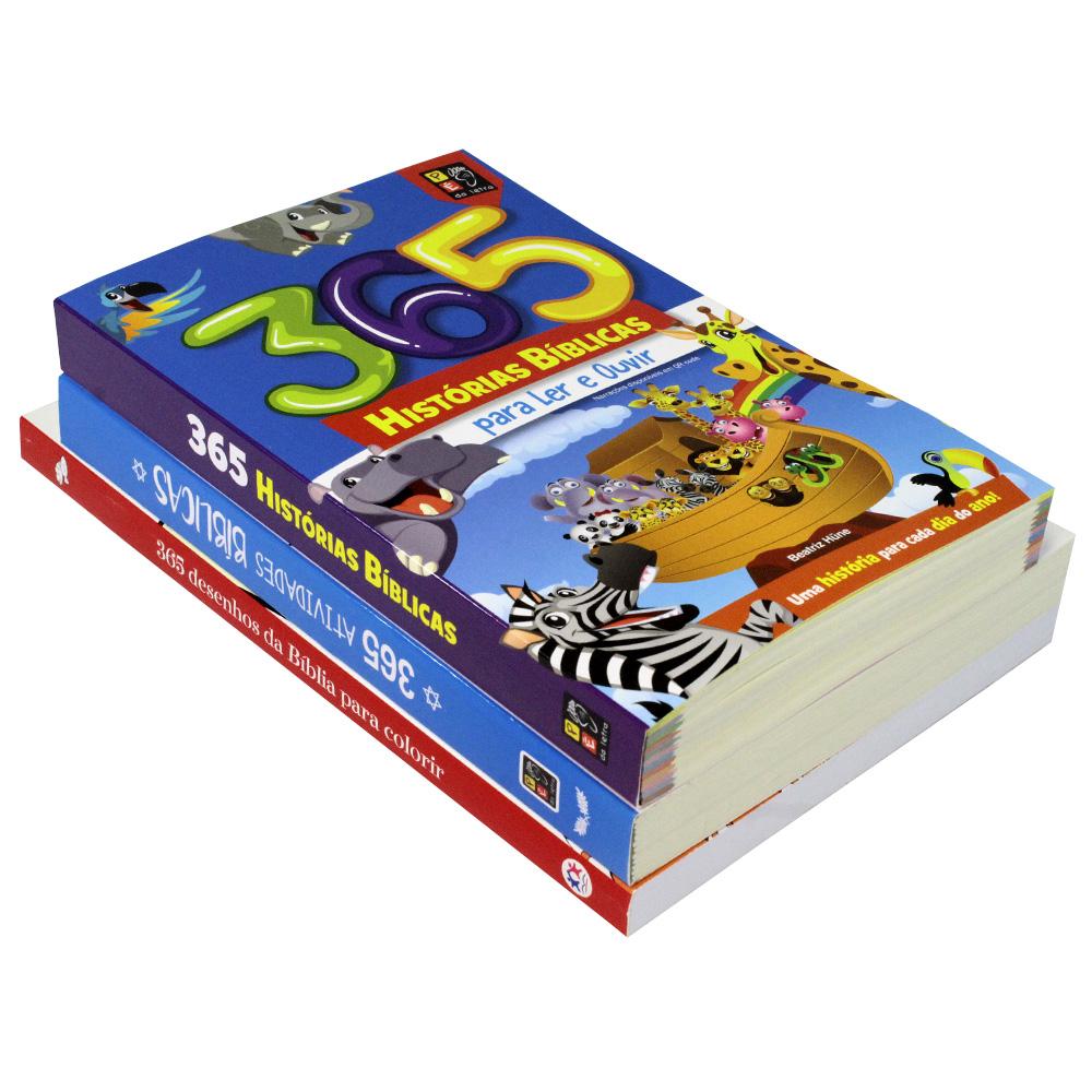 Kit 03 Livros   365 Histórias Bíblica   365 Atividades Bíblicas   365 Desenhos da Bíblia Colorir