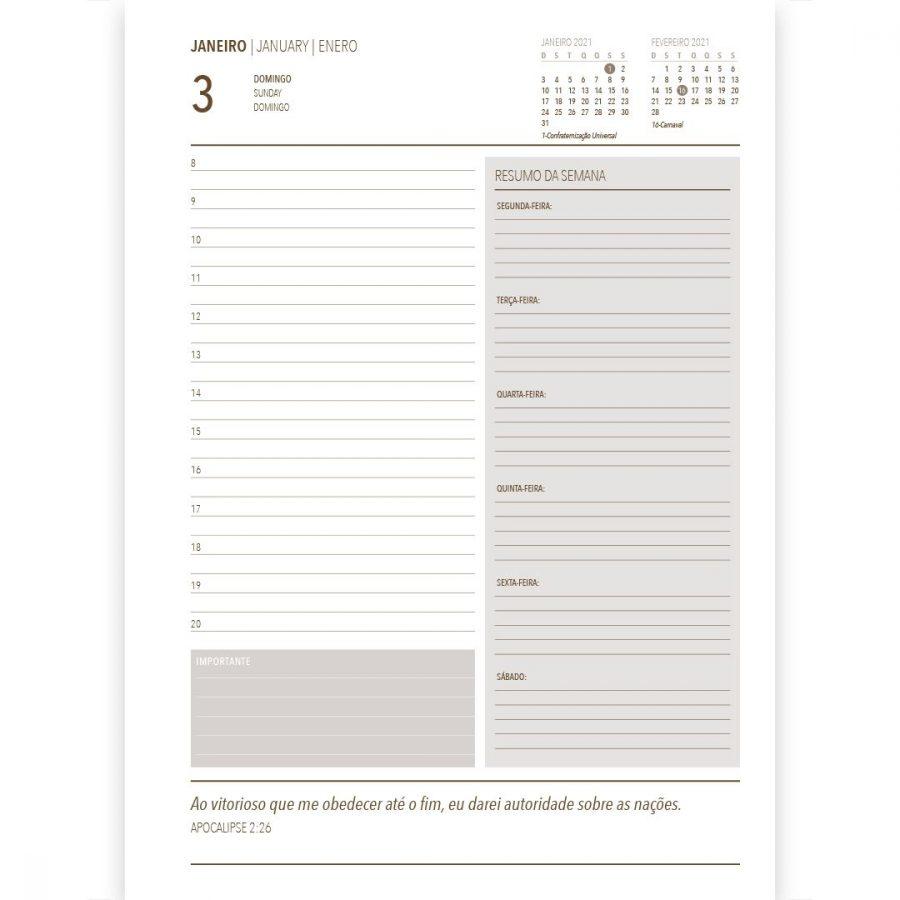 Kit 05 Agenda Executiva 2021 Pão Diário - Preta