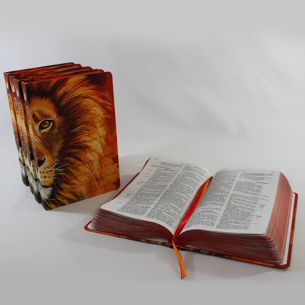 Kit 05 Bíblia ACF Leão Laranja - Letra Grande Soft Touch