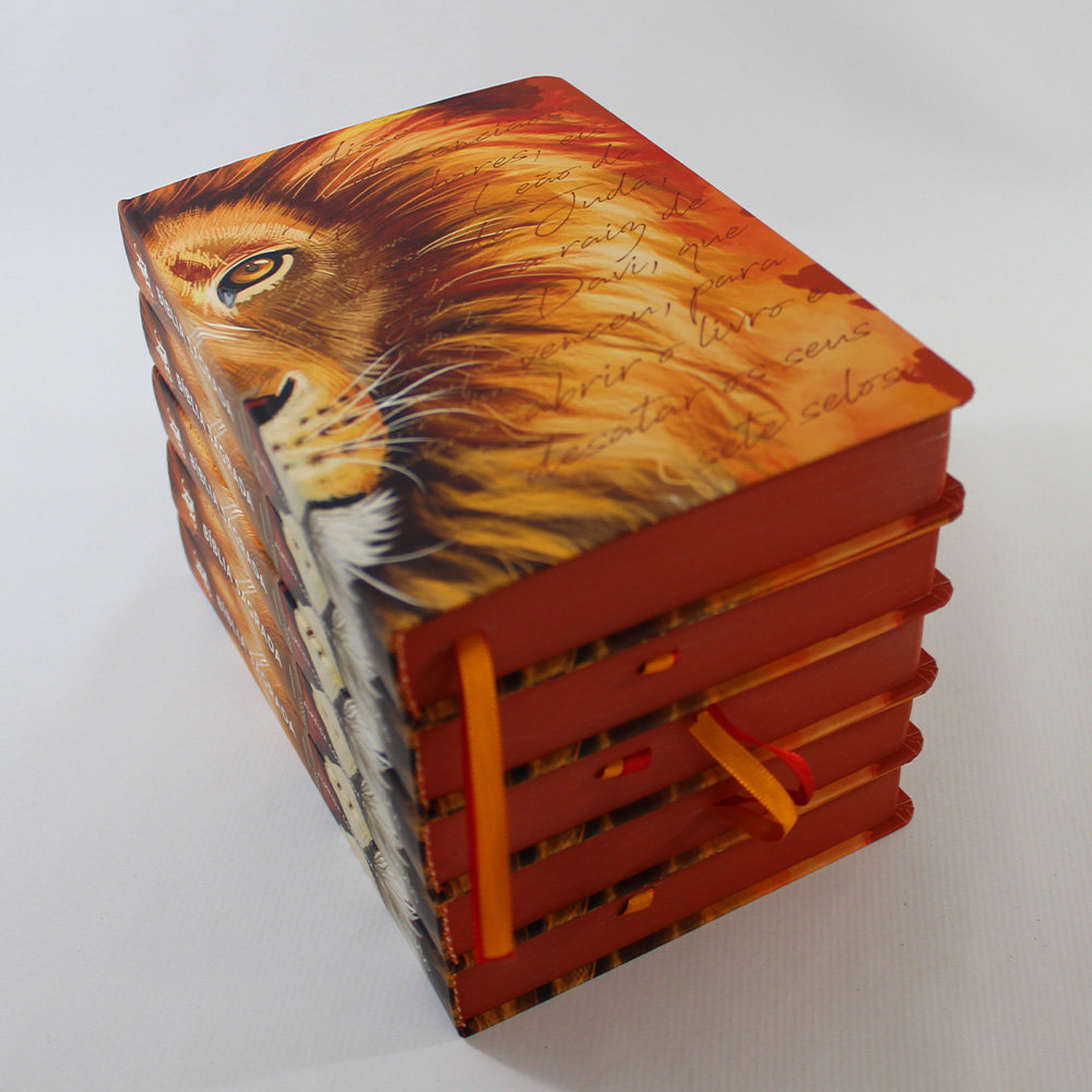 Kit 05 Bíblias ACF Leão Laranja - Letra Grande Soft Touch