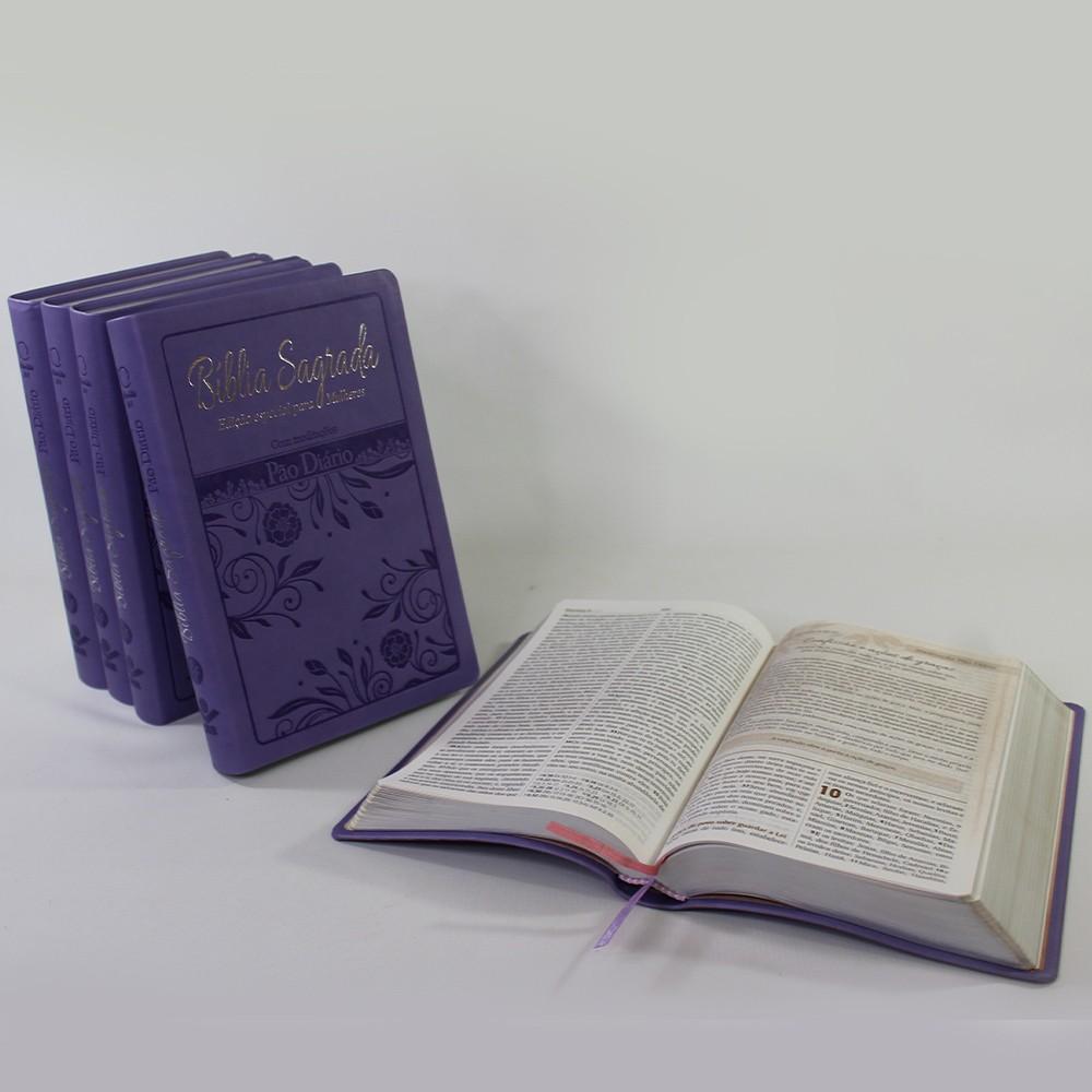 Kit 05 Bíblias Letra Grande com Pão Diário