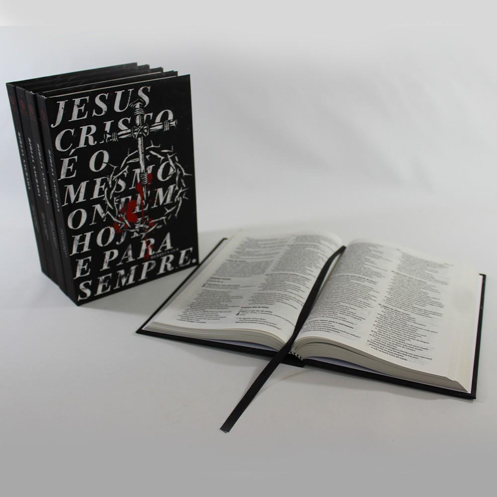 Kit 05 Bíblias NAA Jesus Eterno   Capa Dura