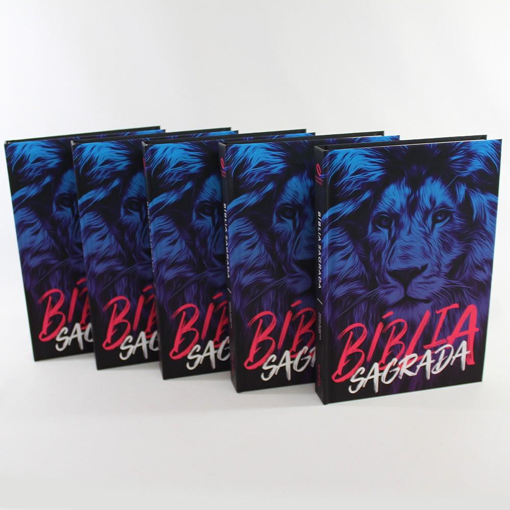 Kit 05 Bíblias NAA Leão Azul | Capa Dura