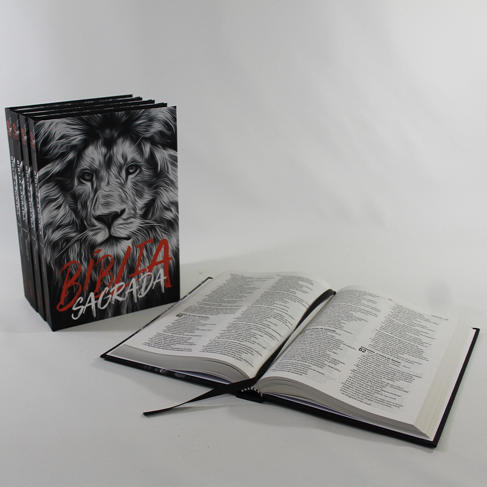 Kit 05 Bíblias NAA Leão Preto e Branco | Capa Dura