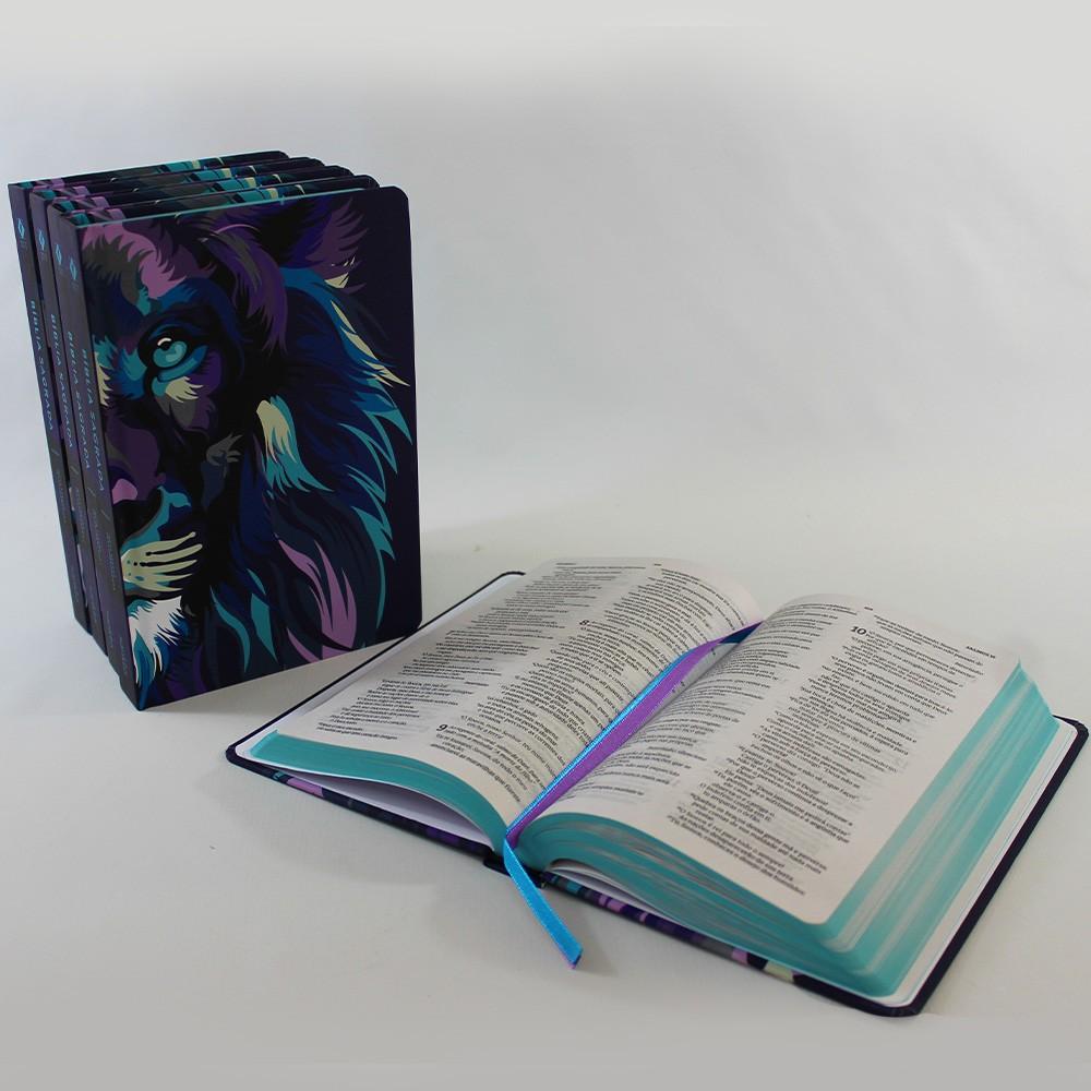 Kit 05 Bíblias NVT Lion Colors Cool | Capa Dura