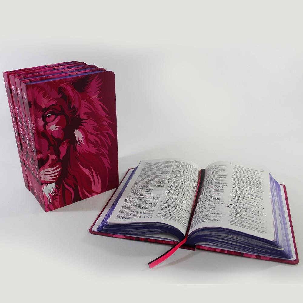 Kit 05 Bíblias NVT Lion Colors Pink | Capa Dura