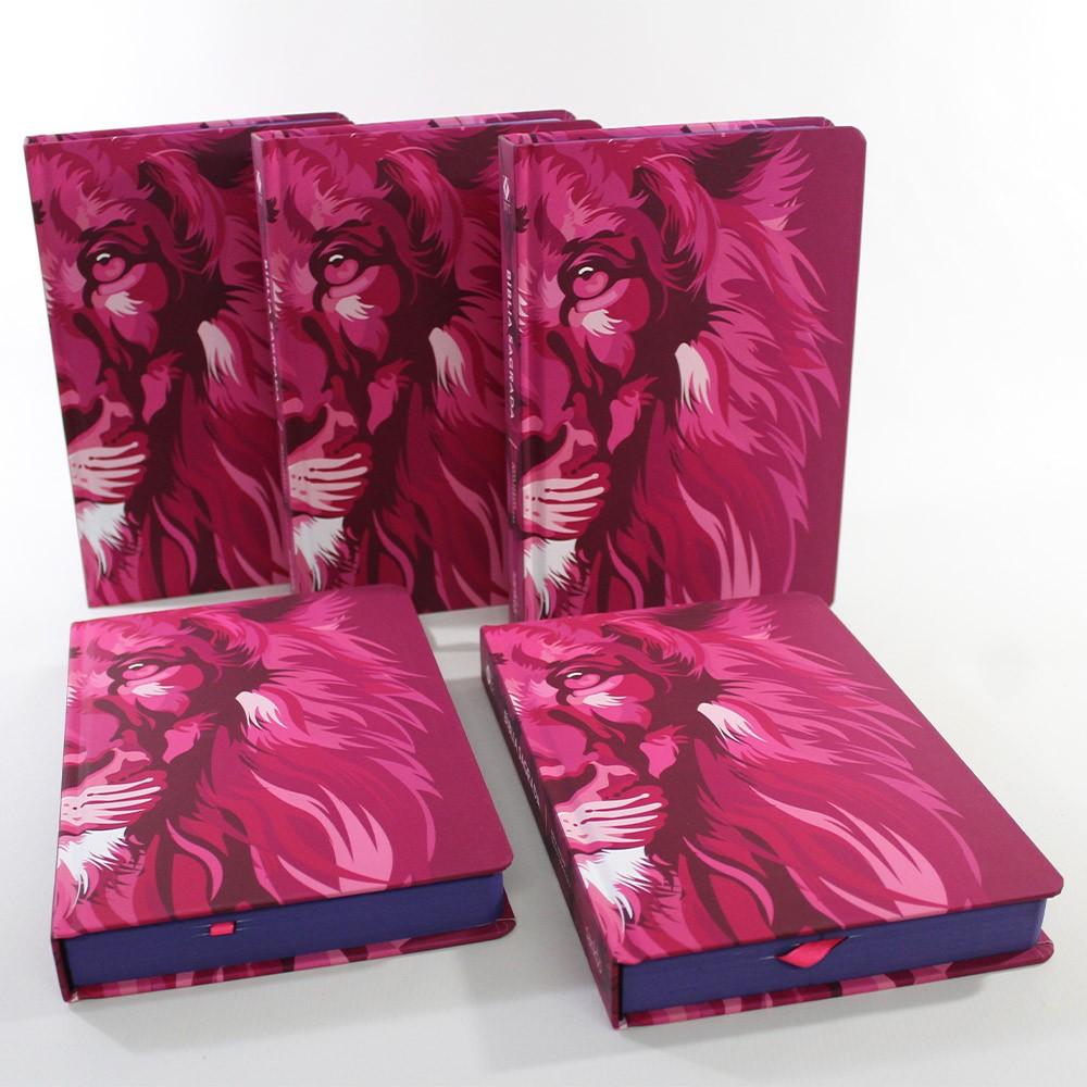 Kit 05 Bíblias NVT Lion Colors Pink   Capa Dura