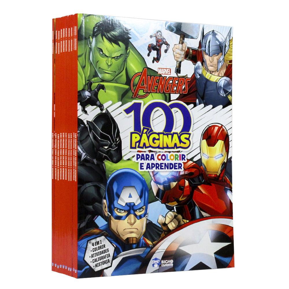 Kit 10 Livros | 100 Páginas Para Colorir e Aprender | Avengers Marvel