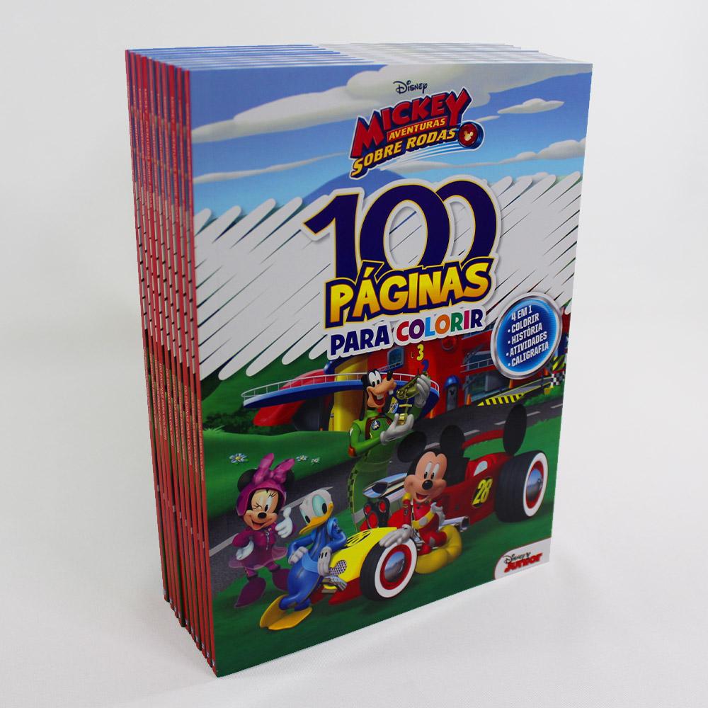 Kit 10 Livros | 100 Páginas Para Colorir e Aprender | Disney Mickey