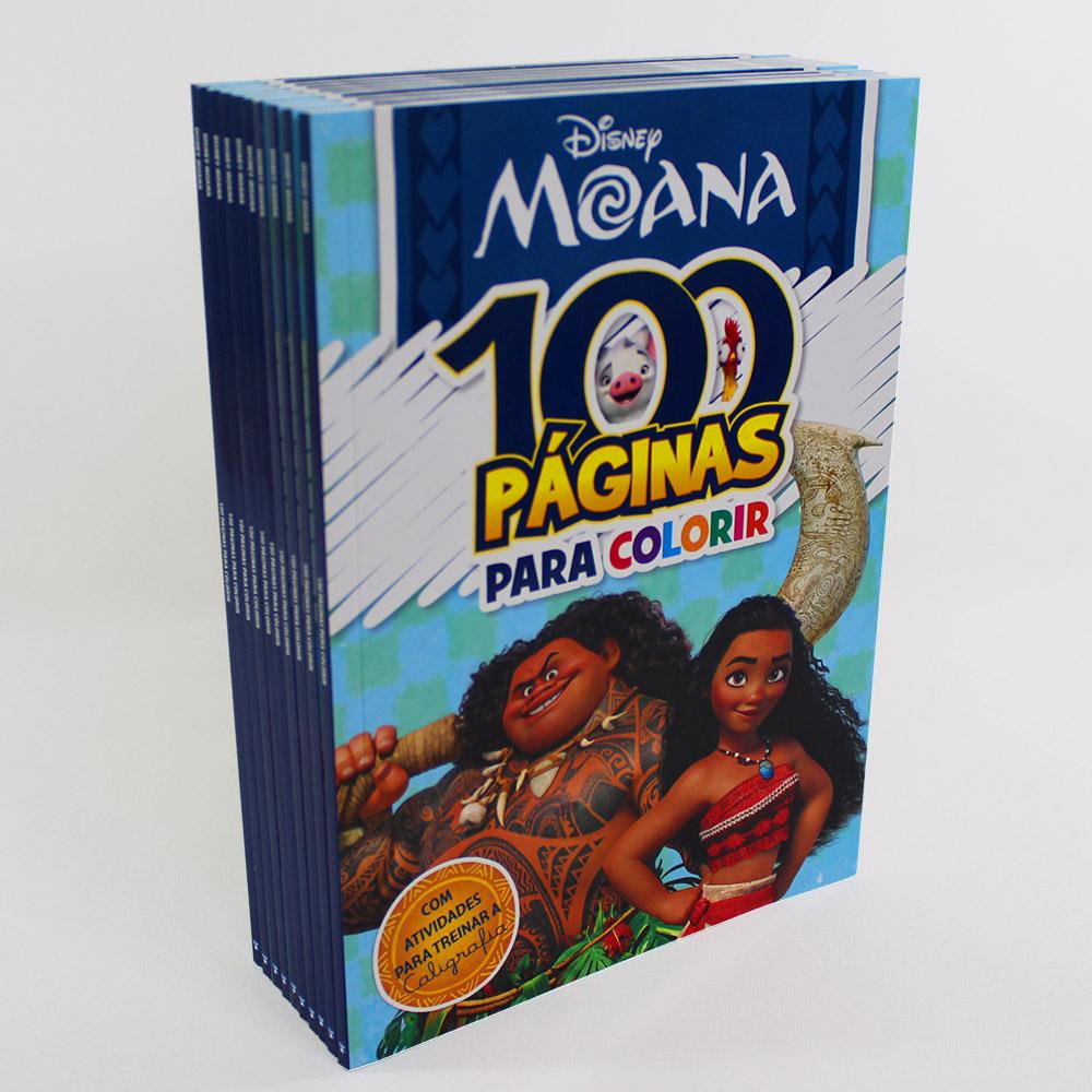 Kit 10 Livros | 100 Páginas Para Colorir e Aprender | Disney Moana