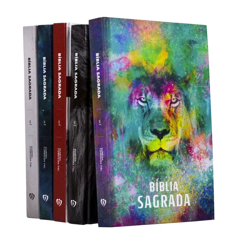 Kit 1 Bíblia Sagrada | Capa Dura | Coleção Leão ACF | 05 Unidades