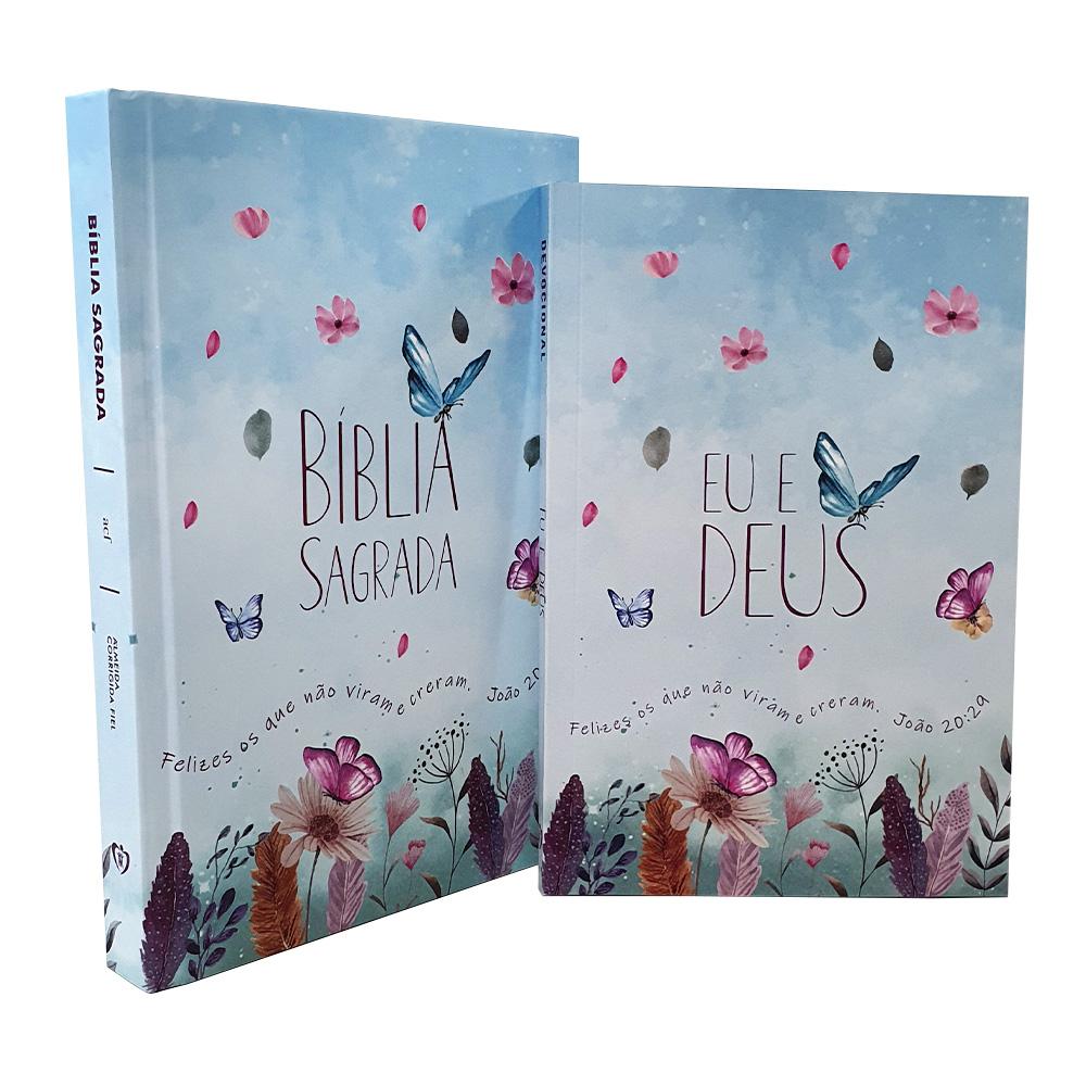 Kit 2 Livros | Bíblia Sagrada - Capa Dura Jardim Secreto - ACF +Devocional Eu e Deus - Jardim Secreto