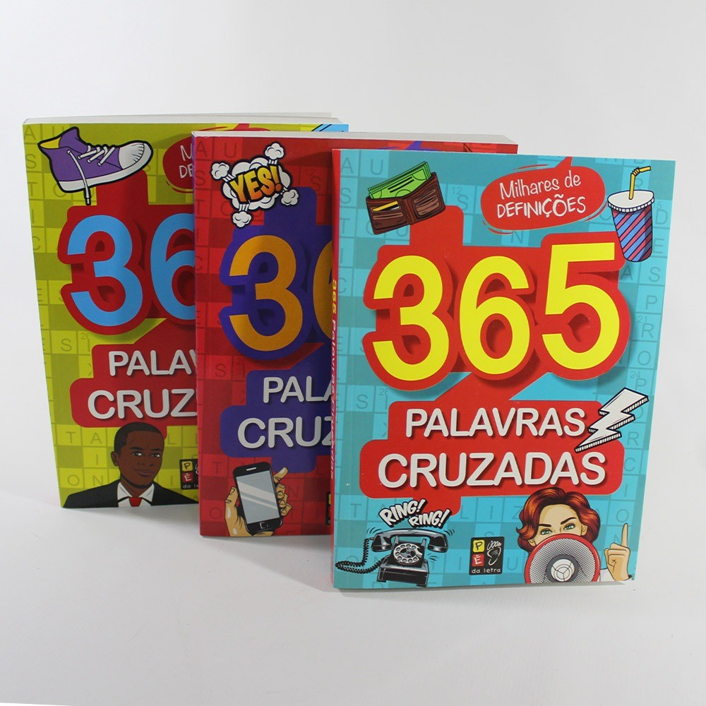 Kit 365 Palavras Cruzadas | 3 Livros | Pé da Letra
