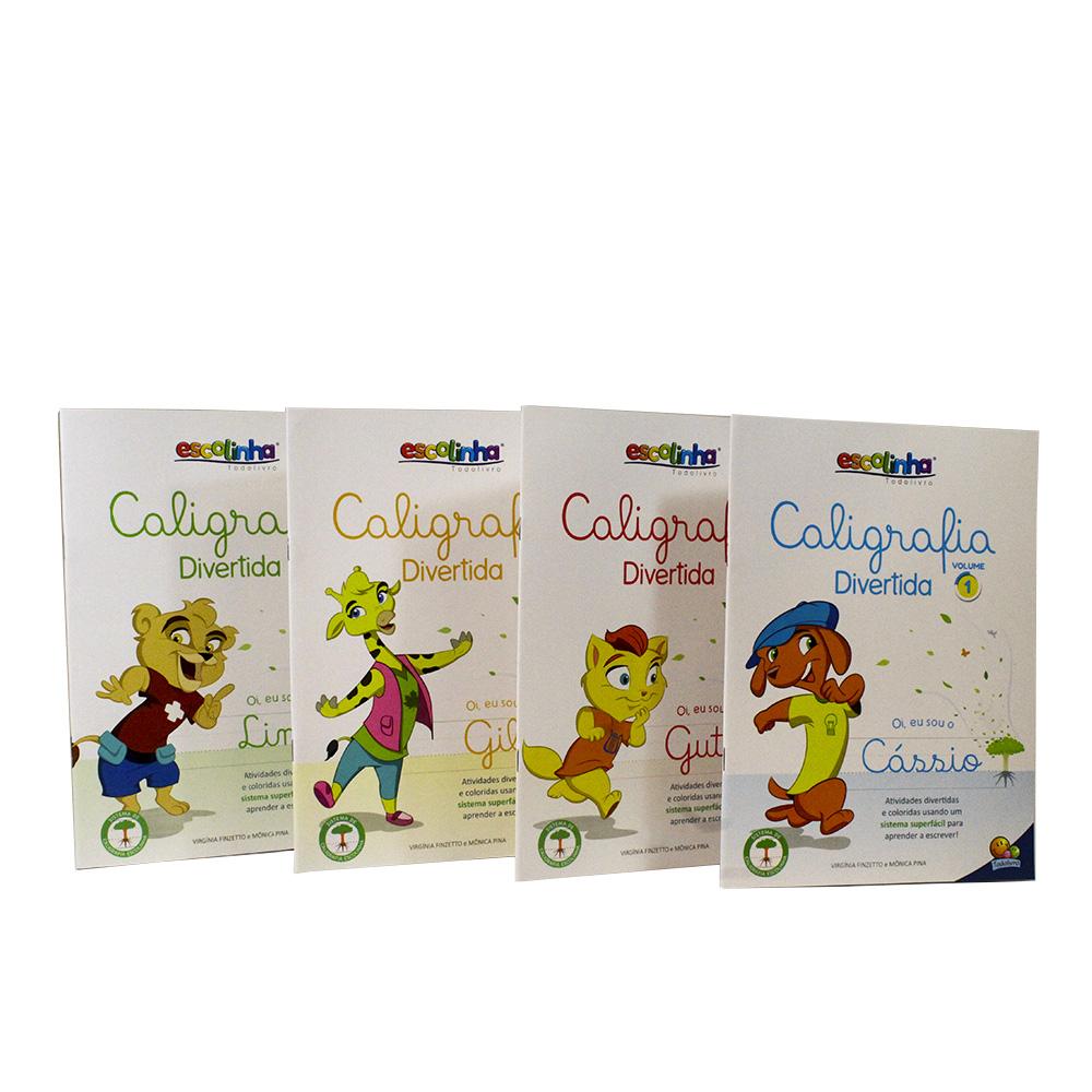 Kit 4 Livros Caligrafia Divertida III - Vol. 1, 2, 3 e 4 | Escolinha TodoLivro