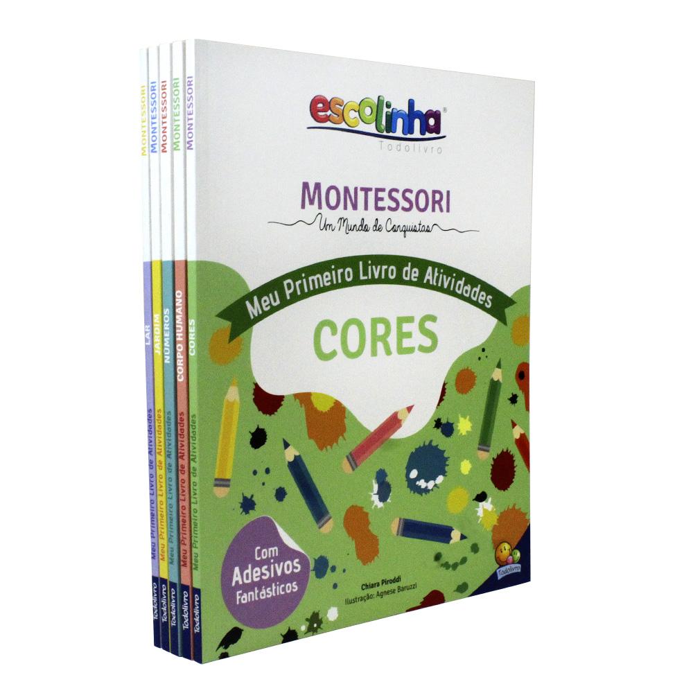 Kit 5 Escolinha Montessori | Meu Primeiro livro de Atividades Jardim - Lar - Números - Cores - Corpo Humano