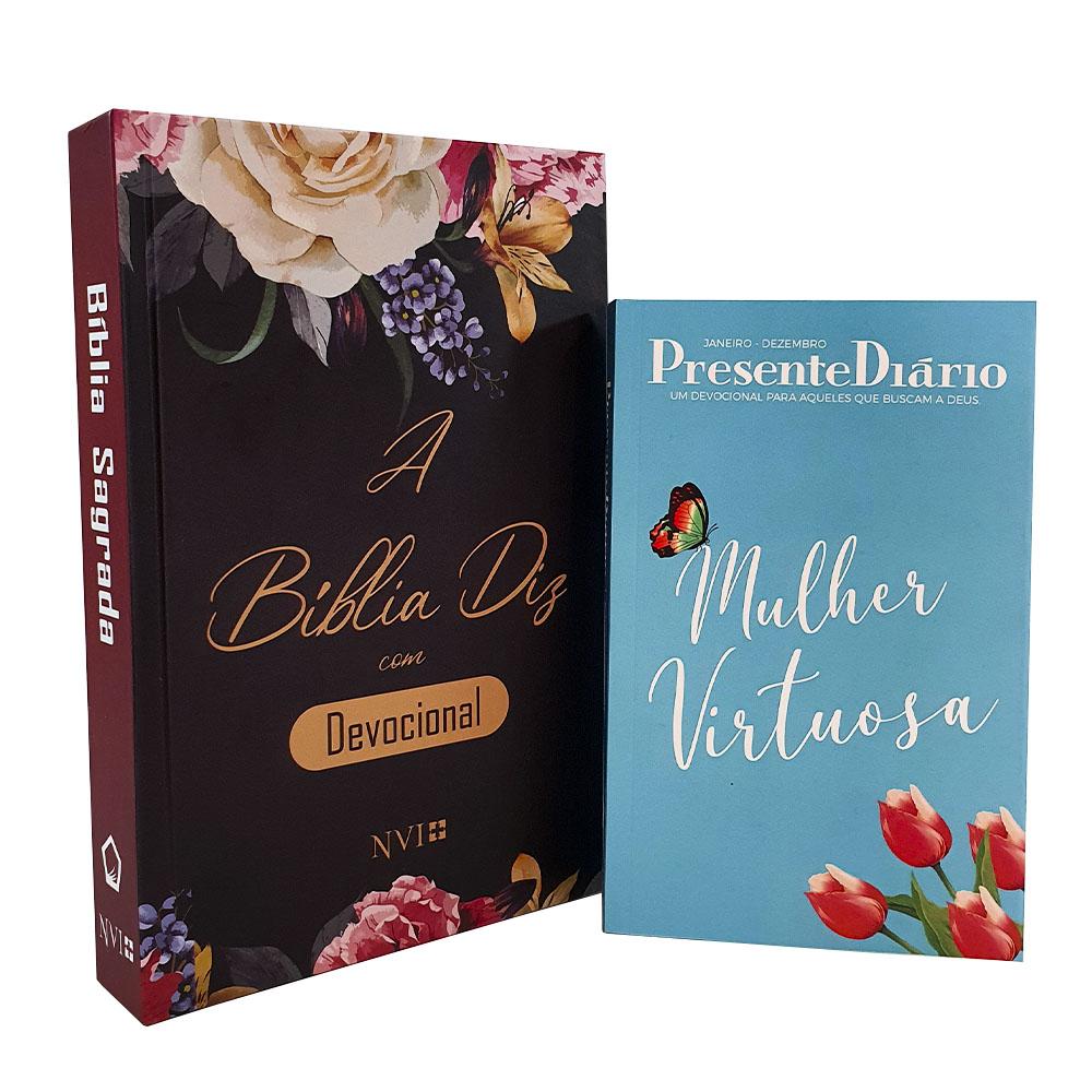 Kit A Bíblia Diz com Devocional | NVI | Capa Flores + Presente Diário  Capa Mulher Virtuosa