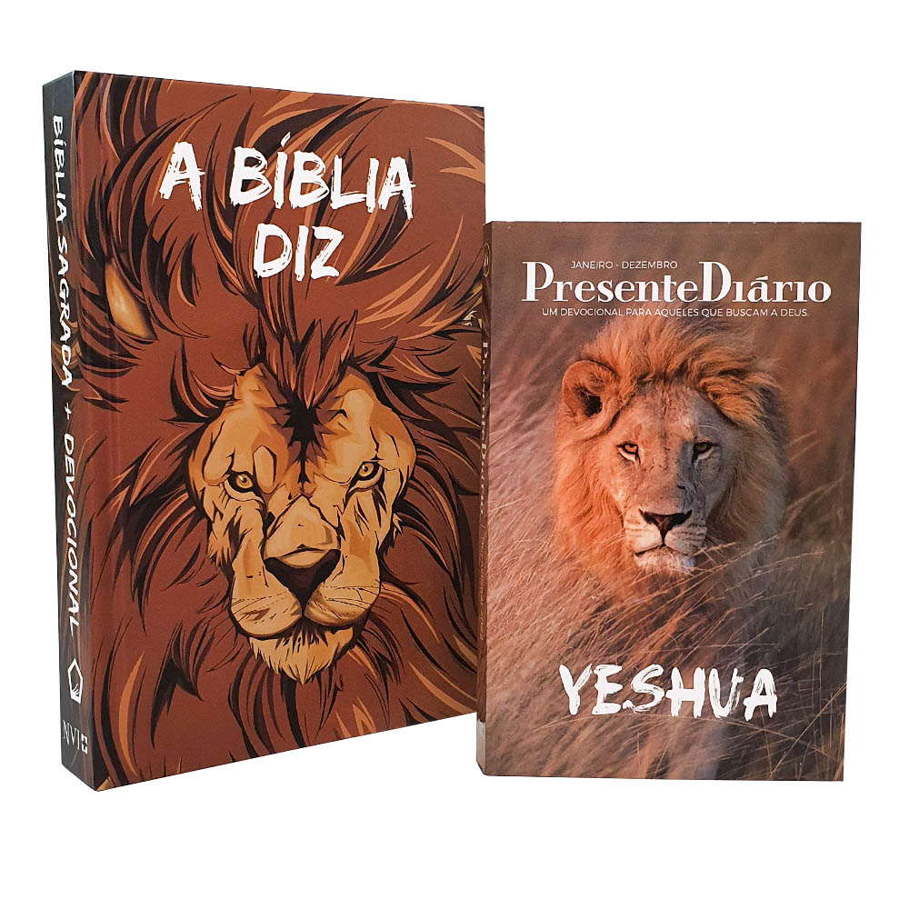 Kit A Bíblia Diz com Devocional | NVI | Capa Leão HQ + Presente Diário Capa Leão Yeshua
