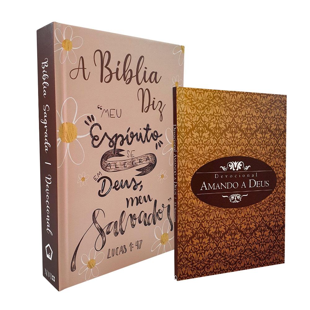Kit A Bíblia Diz NVI Capa Lettering + Devocional Amando a Deus - Capa Clássico