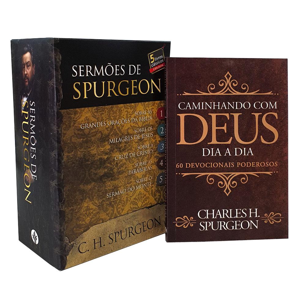Kit Box Sermões de Charles Spurgeon + Devocional Caminhando com Deus